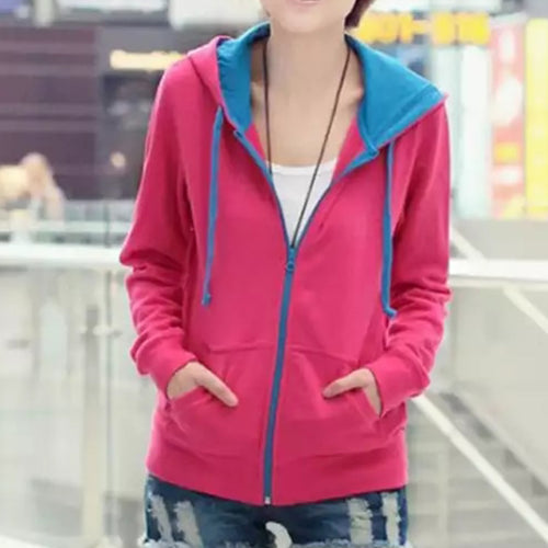Pink Hoodie With Blue Touch