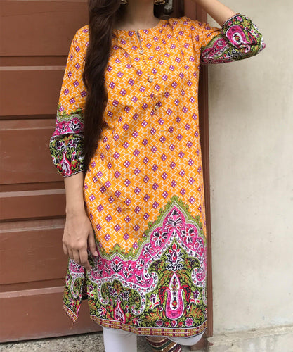 Orange Desi Style Kurti-Lawn-Splash Colours