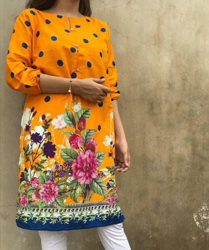 Orange With Blue Polka Dots Kurti-Lawn-Splash Colours