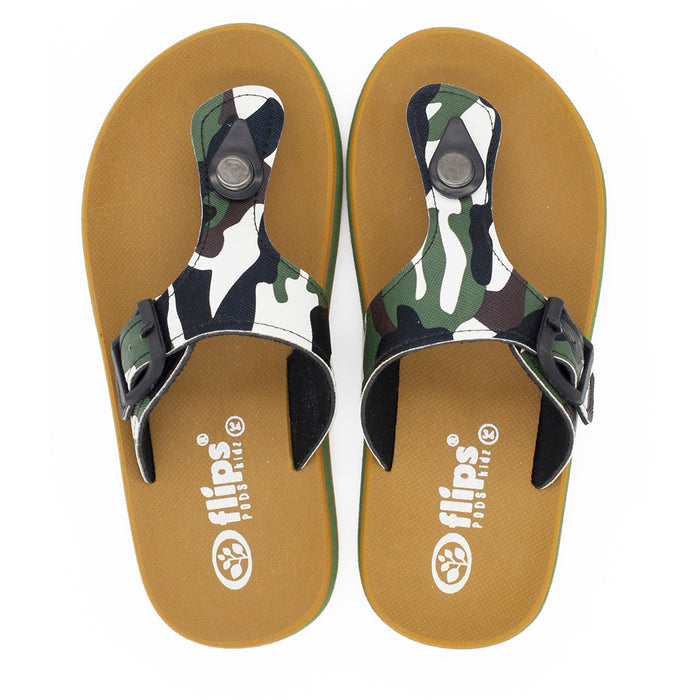 'Camo Green', Flips Pods Kidz in T-strap design