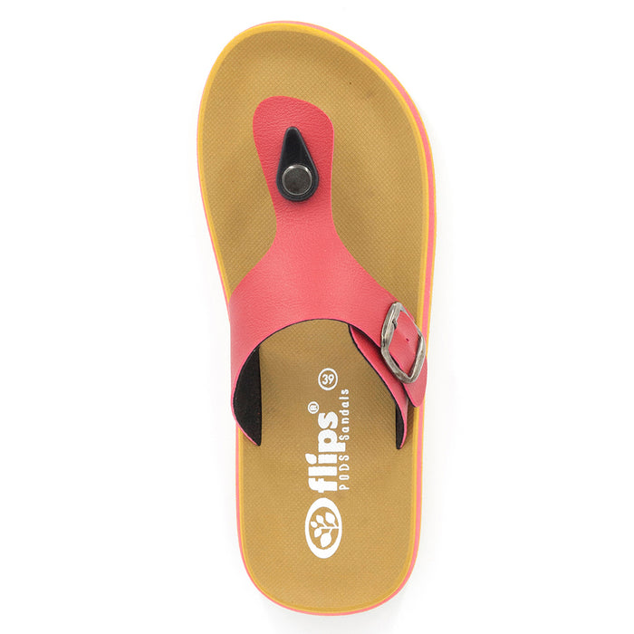 'Red', Flips Pods Sandals in T-strap design
