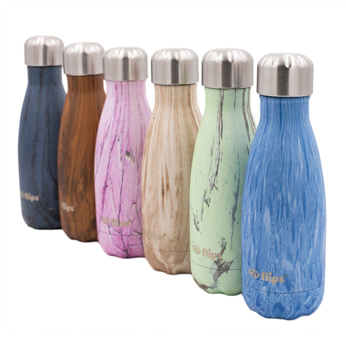Flips Ergo 350ml, Double Walled Stainless Steel Water Bottle with organic prints