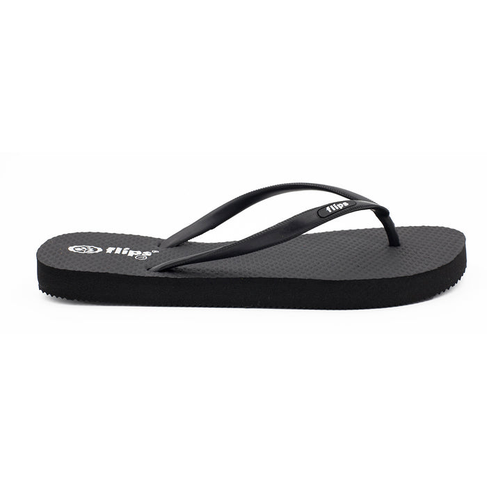'Classic Black', rubber flip-flops in slim strap design