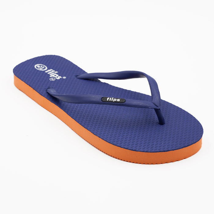 'Navy Tangerine', rubber flip-flops in slim strap design
