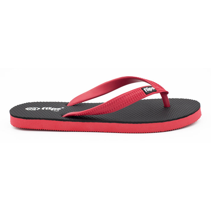 'Formula Red', rubber flip-flops in standard strap design