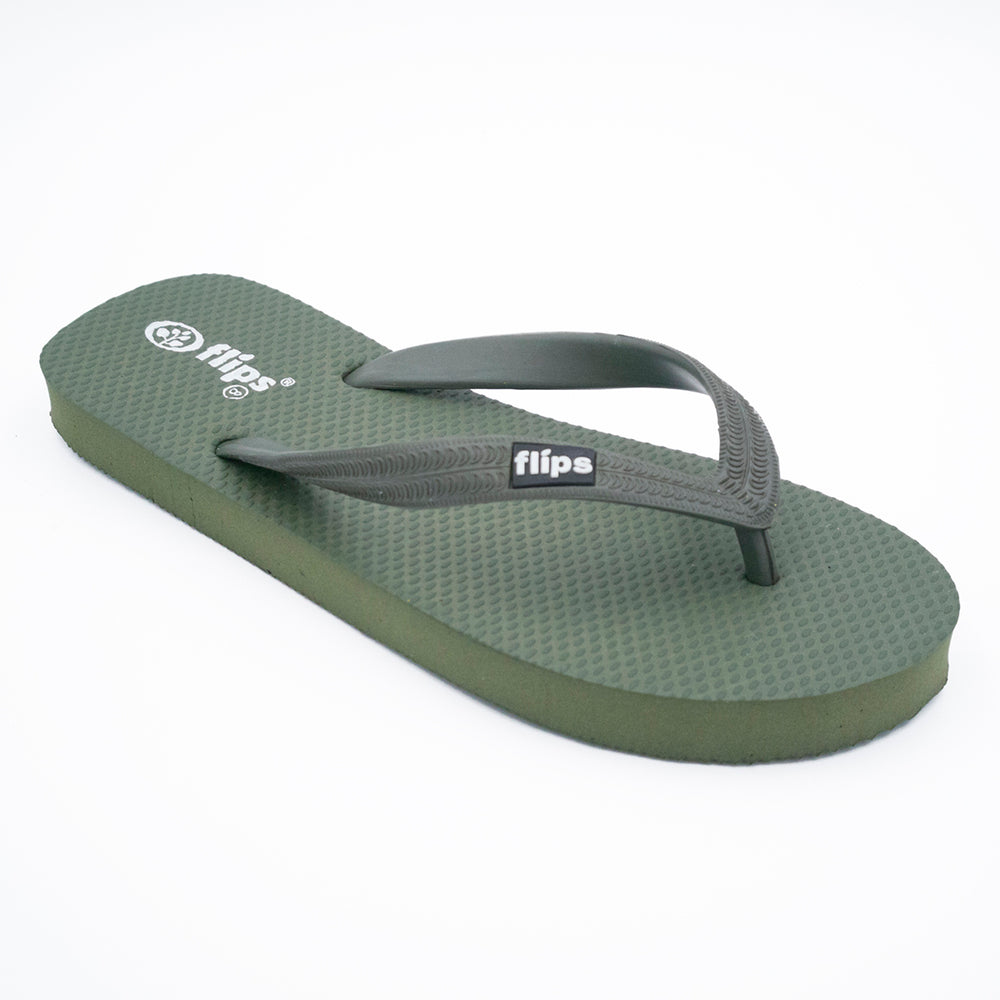'Forest', rubber flip-flops in standard strap design