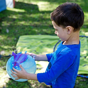a boy in a blue shirt is holding a frisbee