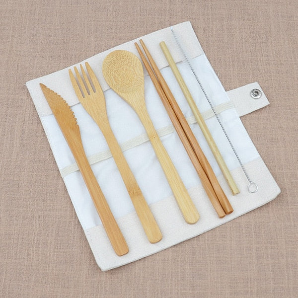 6pcs/Set Bamboo Cutlery Set with Cloth Bag - Green Bee Store