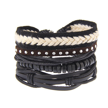 Rivet Black Weaving Bracelet