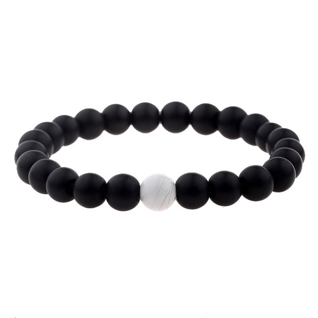 Couples Distance Bracelet Natural Wood Stone White And Black Yin Yang Beaded Bracelets For Men Women Best Friend