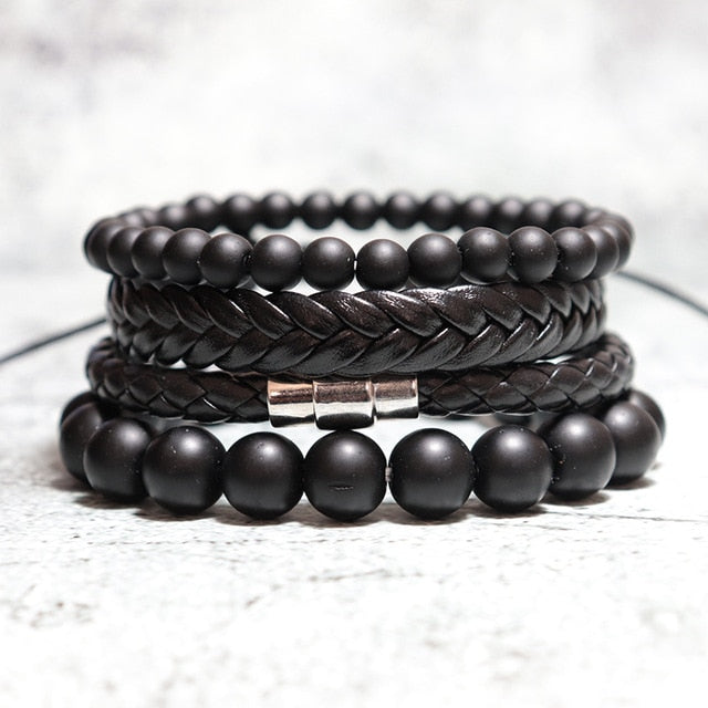 Man Bracelet Set Weave Leather