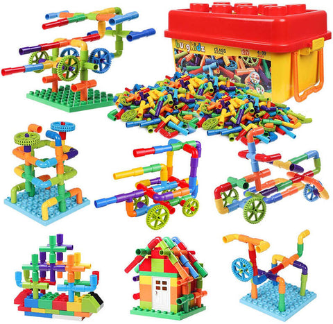 Toy Pipe Creative Construction with Wheels and Mini Baseplate