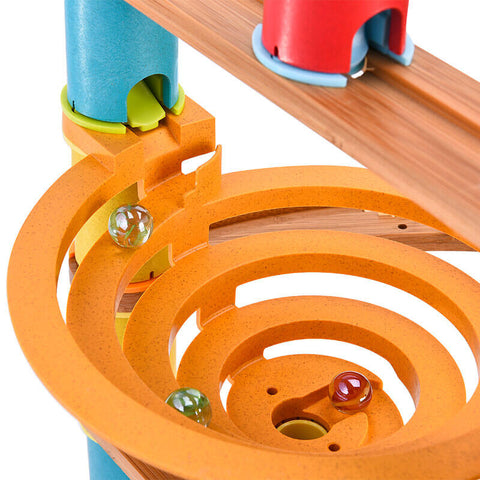 Wooden building blocks ball track toys