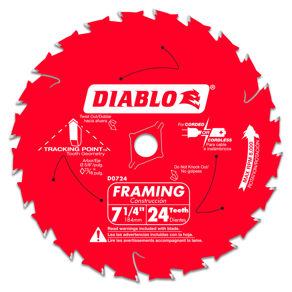 DIABLO 7‑1/4 in. x 24 Tooth Framing Saw Blade