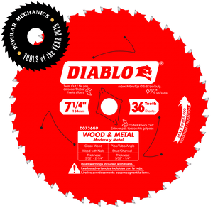 DIABLO 7‑1/4 in. x 36 Tooth Wood & Metal Carbide Saw Blade