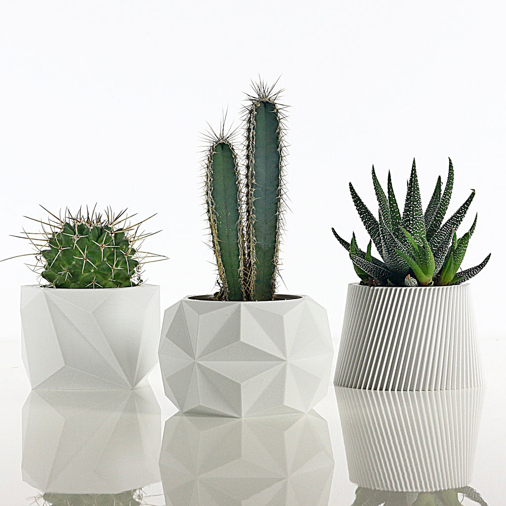 Set of 3 Matte White Planters #1