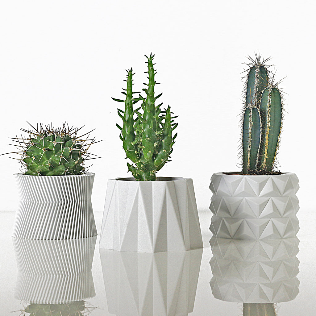 Set of 3 Matte White Planters #2