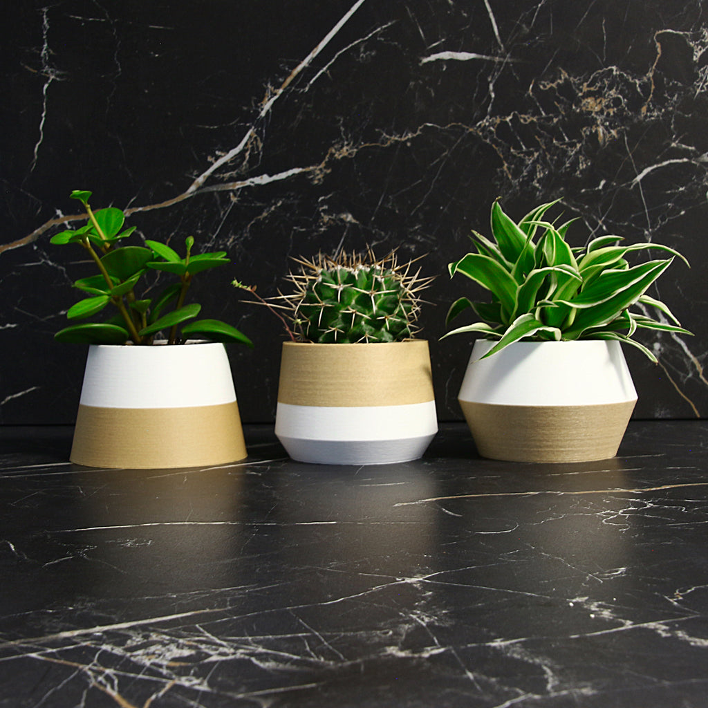 Set of 3 Planters ° Z3KO ° . Matte White / Wood