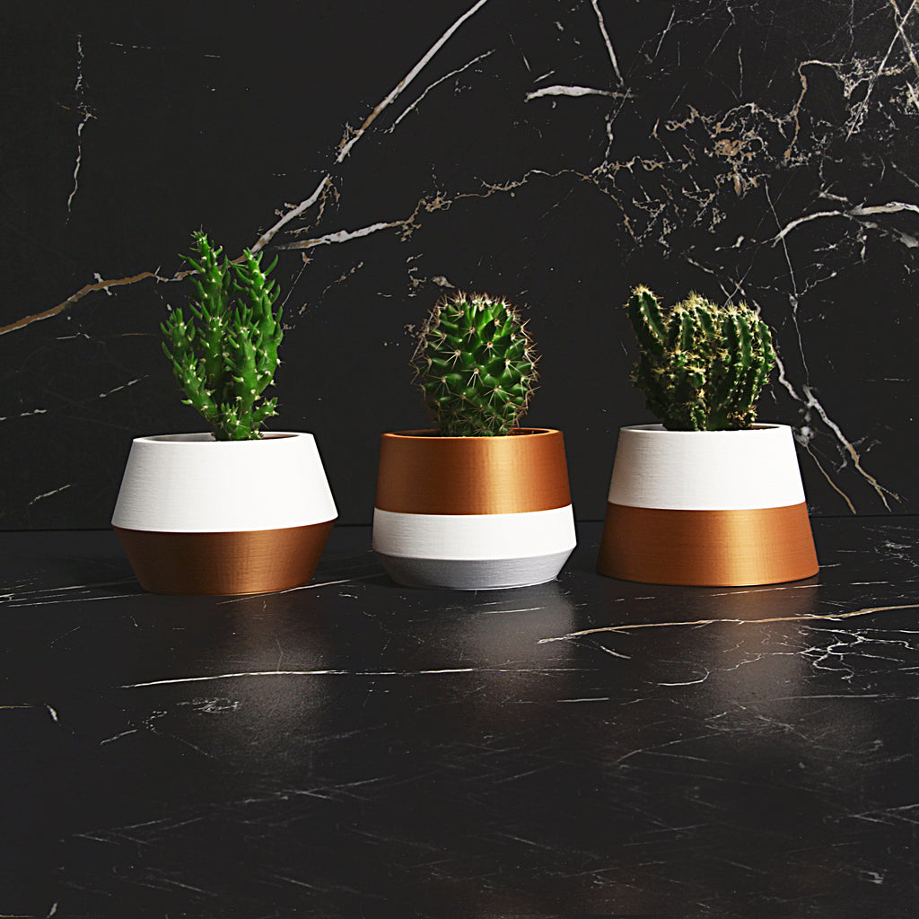 Set of 3 Planters ° Z3KO ° . Matte White / Copper
