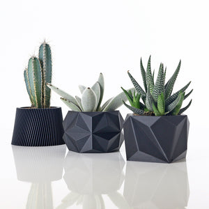 Set of 3 Matte Black Planters #1