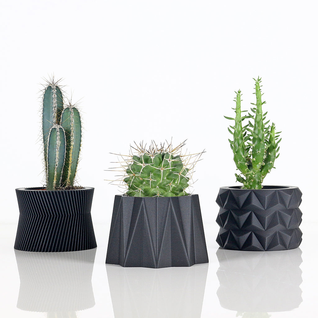 Set of 3 Matte Black Planters #2
