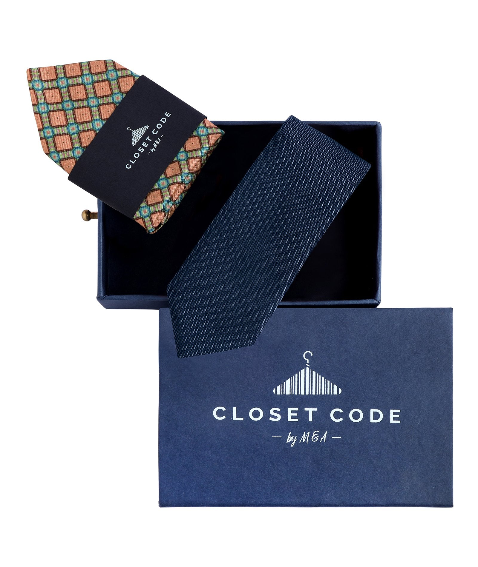 Blue Shimmer Tie and Peach Pocket Square Gift Set