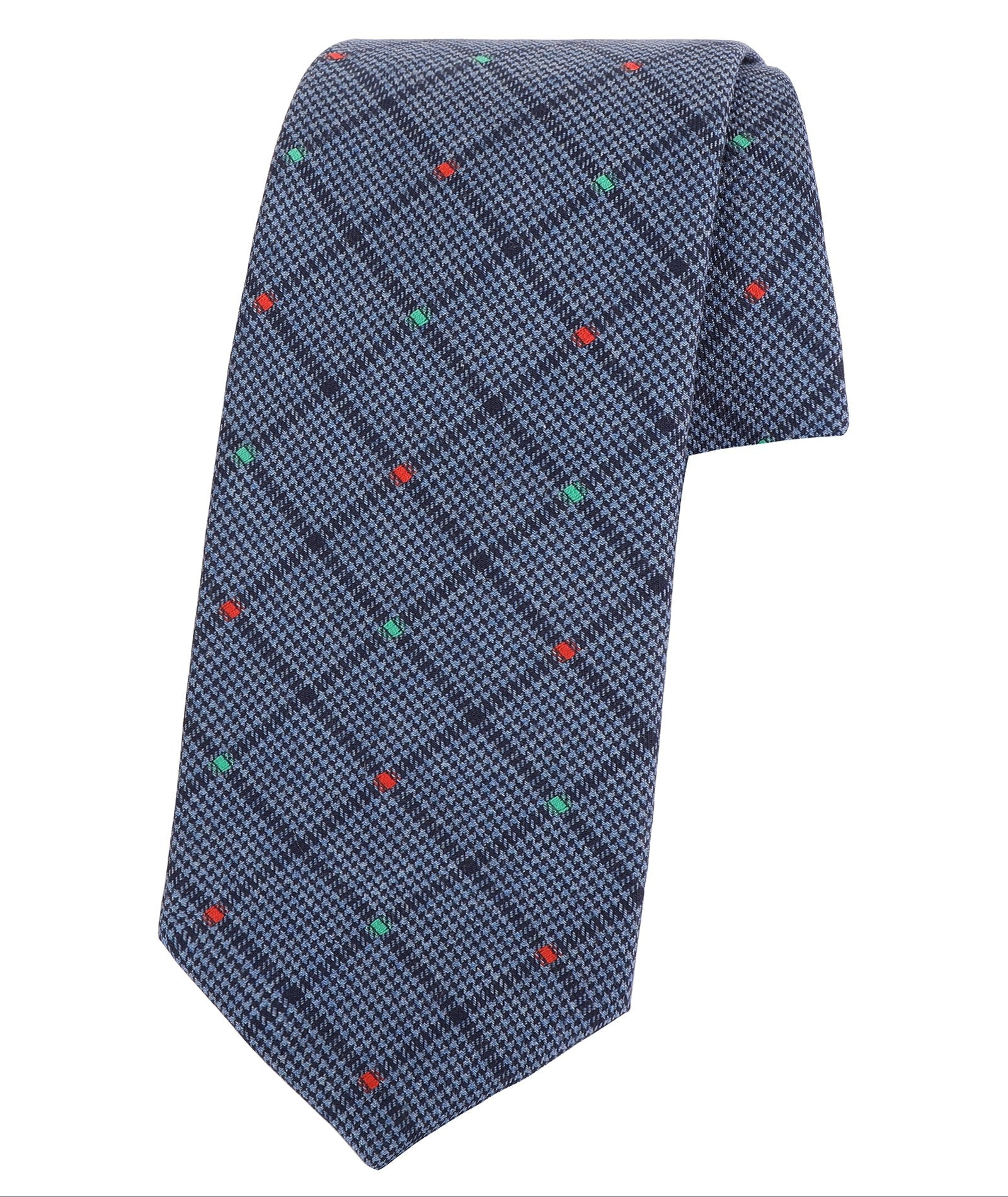 Blue with Red and Green Dots Tie