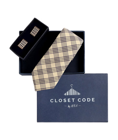 Checks Tie and Cufflinks Gift Set