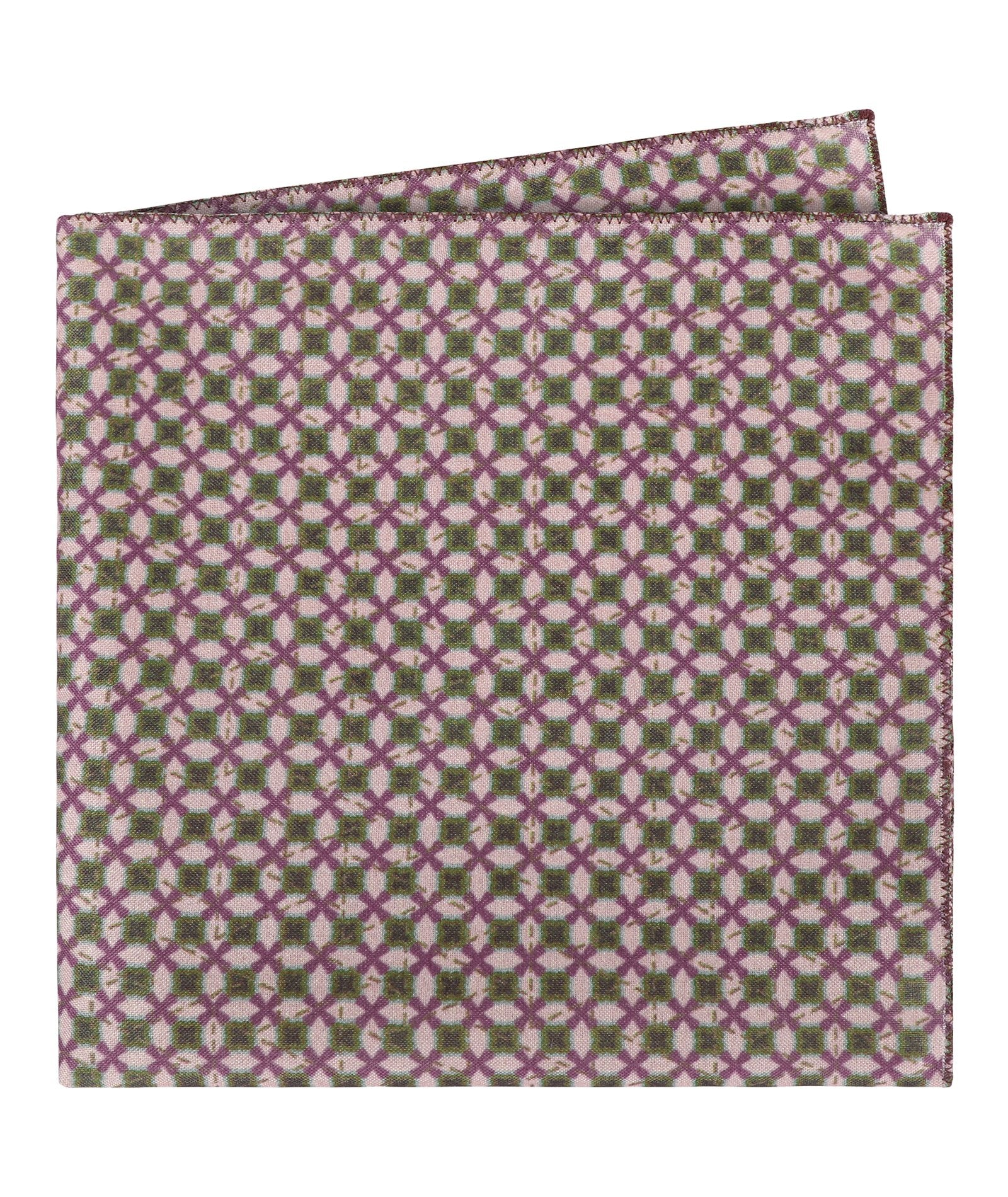 Cross Patter Purple and Green Pocket Square