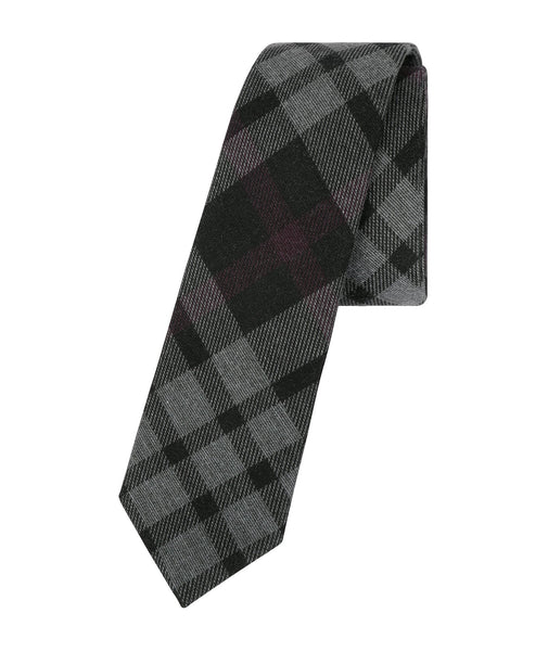 Dark Grey Plaid Tie