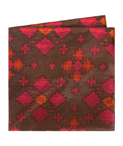 Geometric Floral Print Coral Pocket Square