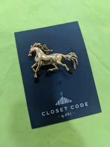 Gold Stallion Coat Pin