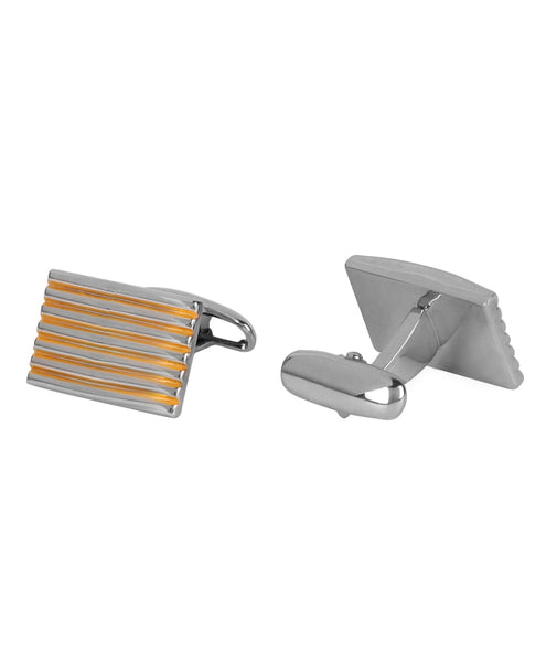 Gold and Silver Pinstripes Cufflink