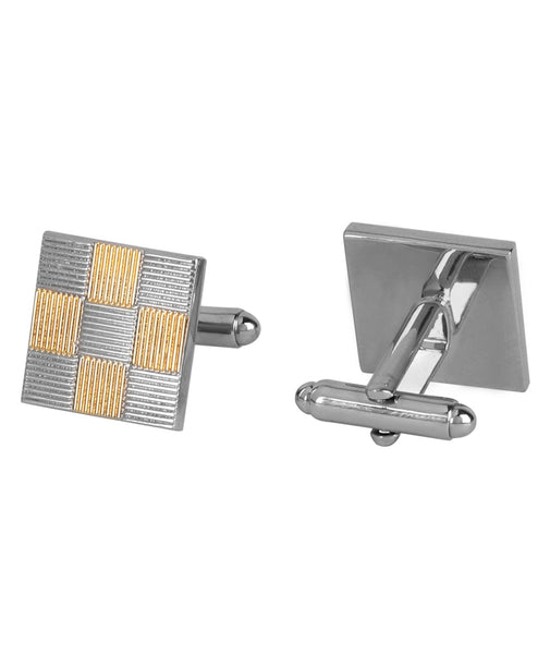 Gold and Silver Pinstripes Square Cufflink