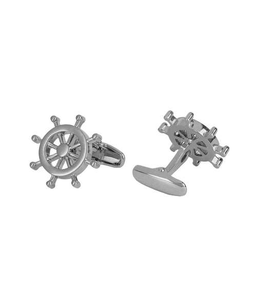Nautical Wheel Silver Cufflink
