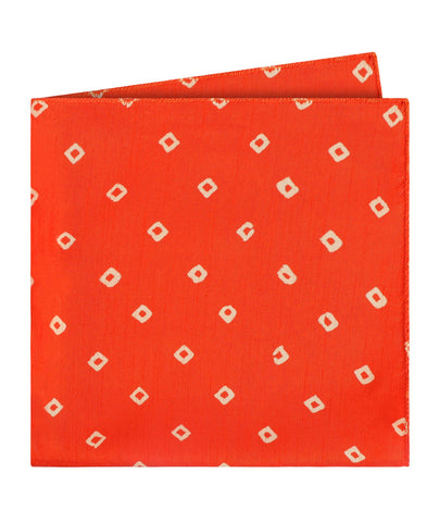 Orange Bandhani Pocket Square