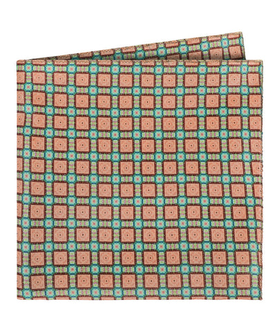 Peach Squares Pocket Square