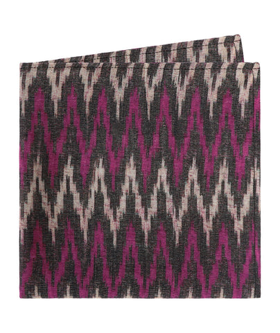 Purple and Black Ikat Pocket Square
