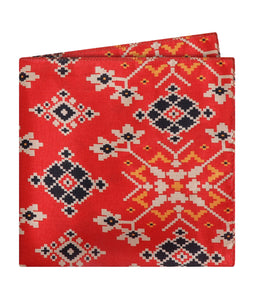 Red Patola Print Pocket Square
