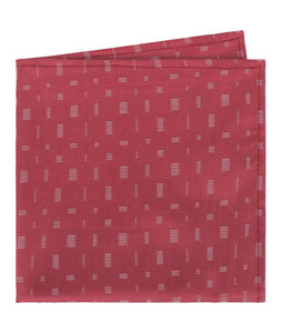 Red With White Woven Rectangles Pocket Square