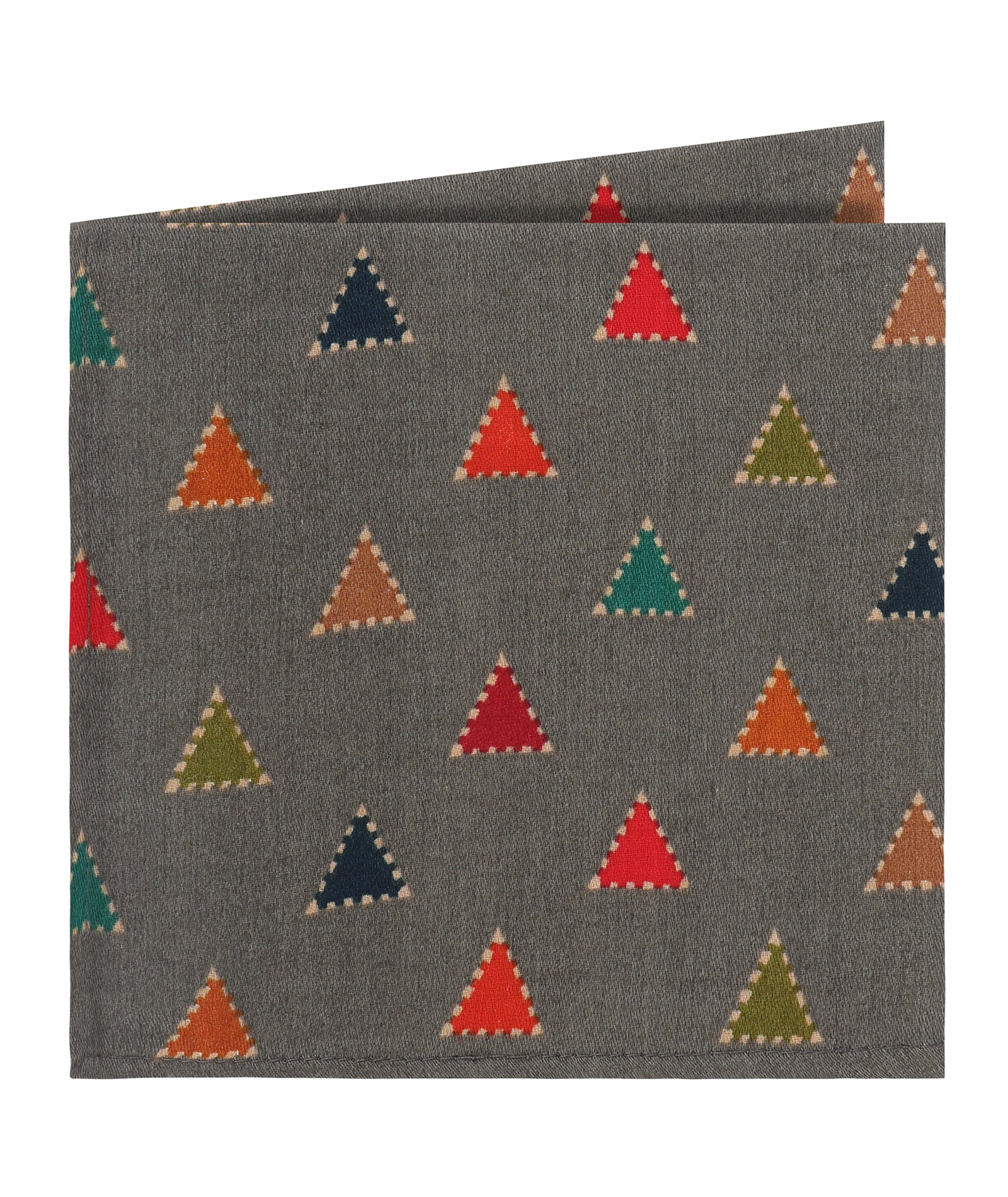 Grey Triangle Print Pocket Square