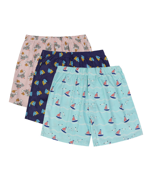 Set of 3 boxers - Tom and Jerry, Masquerade, Sail Boat