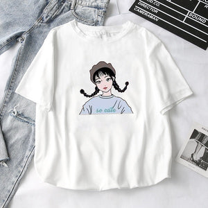 Women T-Shirts 2019 Summer New Cute Animal Girls Printed Tops Tee Female T-shirt Short Sleeve White tshirt for Lady Casual Top