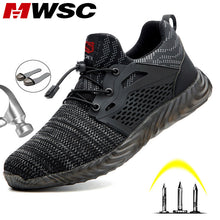 Load image into Gallery viewer, MWSC Safety Work Shoes Boots For Men Light Weight Steel Toe Work Boots Male Anti-smashing Construction Safety Sneakers Plus Size