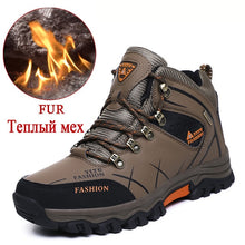 Load image into Gallery viewer, Brand Men Winter Snow Boots Warm Super Men High Quality Waterproof Leather Sneakers Outdoor Male Hiking Boots Work Shoes 39-47