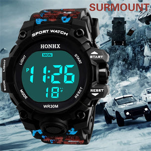 Men Sports Watches 50M Waterproof Back Light LED Digital Watch Chronograph Shock Double Time  Wristwatches For Gift #4M23#F