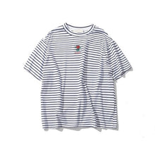 Load image into Gallery viewer, Dark Icon Rose Embroidery Striped Mens T-shirt Short Sleeve 2019 Summer Hi-street Oversized Hip Hop Tshirt Cotton Tee Shirts