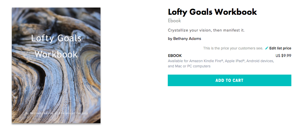 link to Blurb where Lofty Goals Workbook is for sale