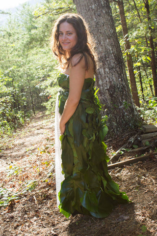 rhetorical factory wedding dress made out of leaves