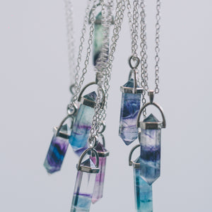 Rainbow Fluorite Crystal Necklace - timesreel